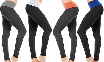2-Pack of Active Skinny Pants with Contrast Foldover Waistbands