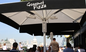 Gourmet Pizza Gabriel's Wharf: Two-Course Meal with Wine for Two or Four at Gourmet Pizza Gabriel's Wharf (Up to 49% Off)