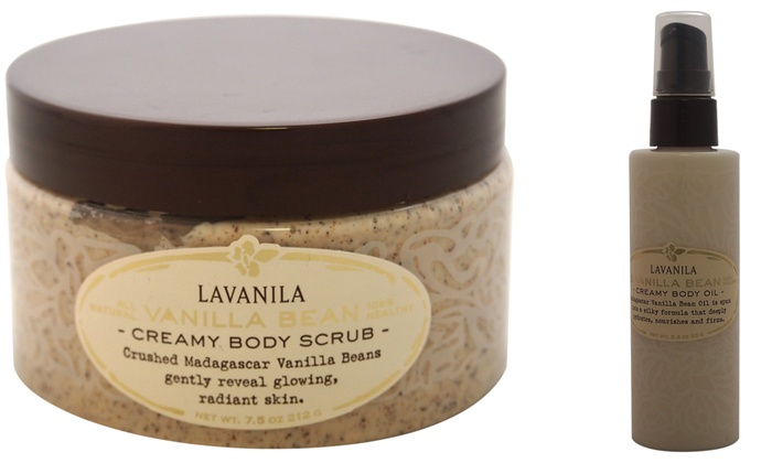 Lavanila Vanilla Bean Creamy Body Scrub and Oil Set (2-Pack)
