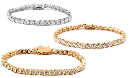 Rhodium or 18K Gold Finish Swarovski Crystal Tennis Bracelets