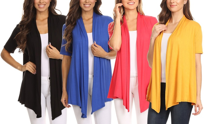 0e434d3446c3 MOA Collection Women's Lightweight Short-Sleeve Cardigan. Plus Sizes  Available.
