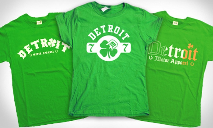 Detroit Motor Apparel - Downtown Royal Oak: One or Two Detroit-Inspired St. Patrick's Day T-Shirts from Detroit Motor Apparel (Up to 52% Off)