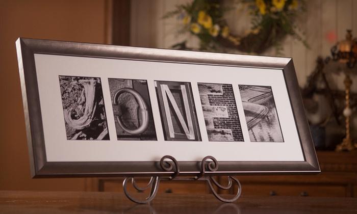 "Sticks and Stones Custom Alphabet Art: $59 for 10""x17"" Framed Custom Alphabet Photography Art from Sticks and Stones ($139.99 List Price). Free Shipping."