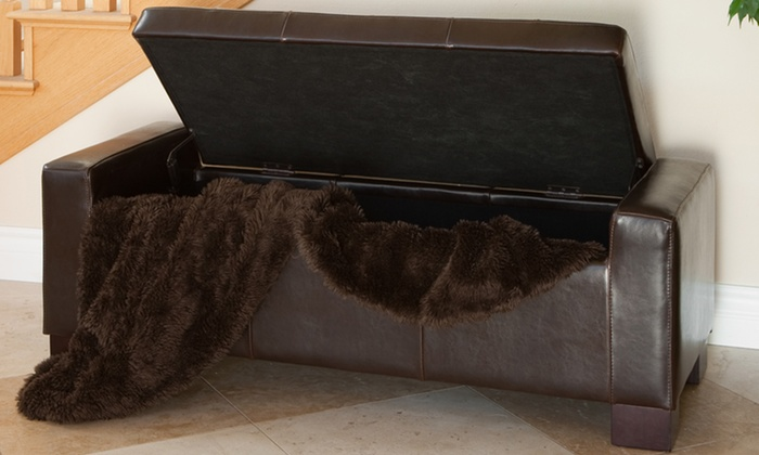 Super Tufted Leather Storage Bench Ottoman Groupon Gamerscity Chair Design For Home Gamerscityorg