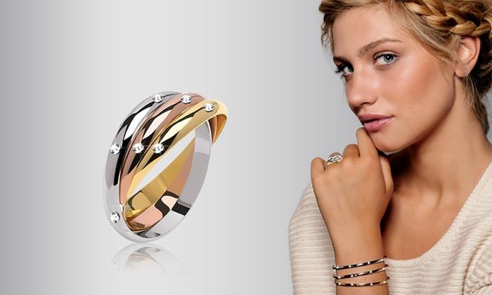 Groupon Goods Global GmbH Bague ou parure 3 Ors Luxury Crystal In ornés de  Swarovski