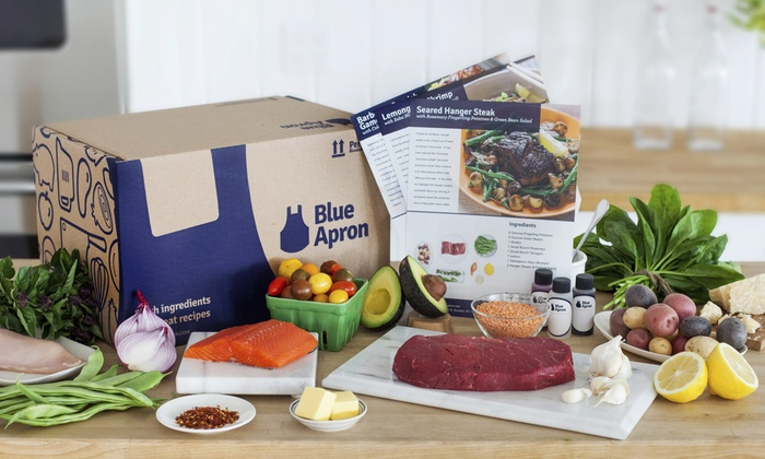 Blue Apron: Three Delivered Meals for Two or Four from Blue Apron (Up to 42% Off). Shipping Included
