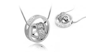 Swarovski Crystal Heart in Circle Pendant