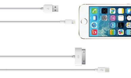 Câbles de chargement blancs d1 ou 3 mètres pour Apple Lightning ou 30 Pin, ou périphériques Micro USB