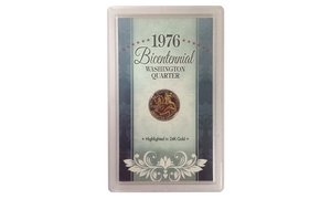 1976 Bicentennial Washington Quarter Highlighted in 24K Gold