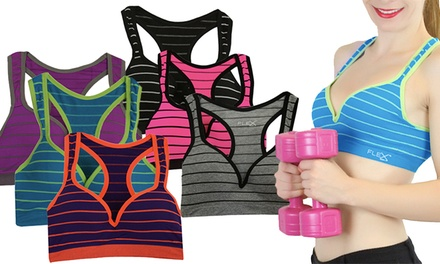 3-Pack of Women's Striped Padded Sports Bras
