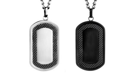 Stainless Steel Dog Tag with Carbon Fiber Inlay. Multiple Options. Free Returns.