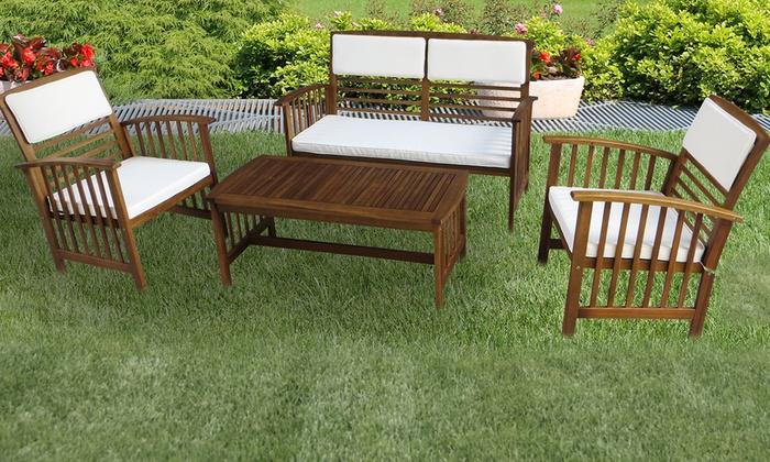 Salotto da giardino in acacia groupon goods for Groupon giardino