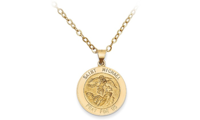 Italian 14k solid gold saint medallion charm pendant necklace groupon italian 14k solid gold saint medallion charm pendant necklace aloadofball Image collections