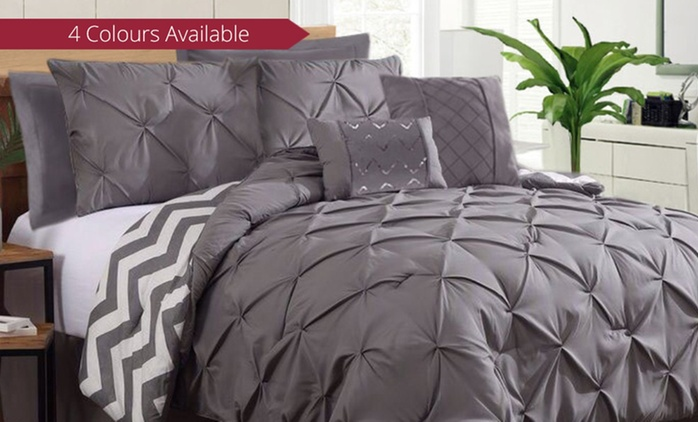 Seven-Piece Comforter Set in a Choice of Four Colour - Double ($69), Queen ($79) or King ($89)