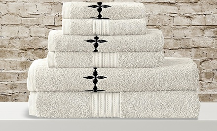 600 GSM Embroidered Egyptian-Cotton 6-Piece Towel Set. Multiple Colors Available. Free Returns.
