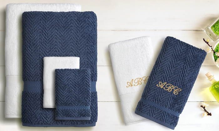 Linum Towels: Six-Piece Color or Hybrid Monogrammed Turkish-Cotton Towel Set from Linum Towels (Up to 72% Off)