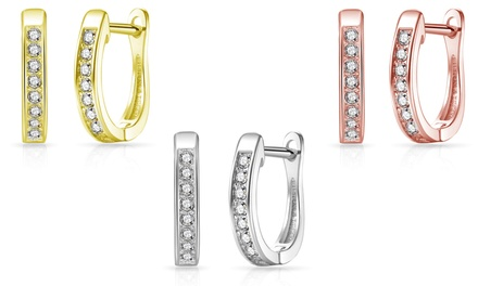 One, Two or Three Pairs of Philip Jones Hoops with Crystals from Swarovski