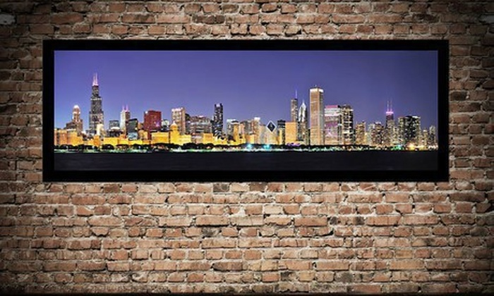 """$79 for a 50""""x17"""" City Skyline Framed Canvas ($209 List Price). 10 Options Available. Free Shipping."""