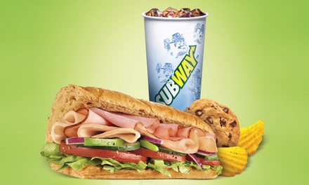 Three or Five Groupons, Each Good for One Combo Meal with 6-Inch Sub, Drink, and Chips at Subway (Up to 43% Off)