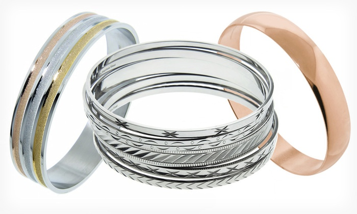 Stainless Steel Bangles: $18.99 for a Fashion Bangle (Up to $90 List Price). 21 Options Available. Free Shipping and Free Returns.