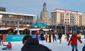 Dresdner Winterzauber: 2 oder 4 Eisbahn-Karten, optional 10 oder 20 Fahrten auf der Winterrutsche, beim Dresdner Winterzauber (50% sparen*)