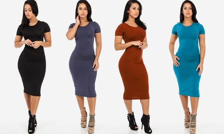 Women's Short Sleeve Bodycon Midi Dress