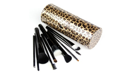 10-Piece Black Makeup Brush Set with Designer Leopard-Print Tube Case