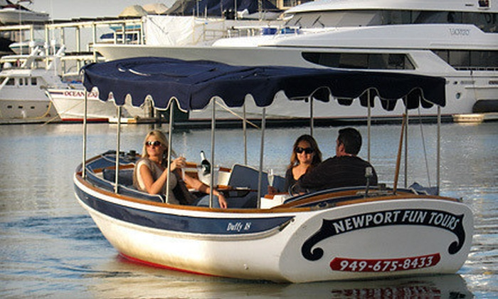 Newport Fun Tours - Newport Pier: $59 for a 90-Minute Electric-Boat Rental for Up to Eight from Newport Fun Tours in Newport Beach ($135 Value)