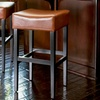 Set of 2 Backless Leather Counter Stools