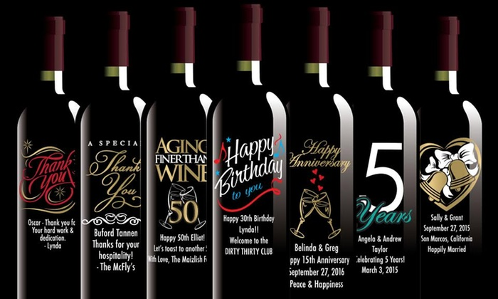 Etching Expressions: One or Two Custom-Etched or Photo-Etched Wine Bottles from Etching Expressions (Up to 62% Off)