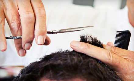Men's Haircut Package with Shampoo or Shave - New Touch Hair Studio in Brampton