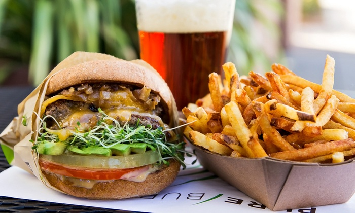 Pure Burger - Carlsbad: 2 Organic Grass-Fed Burgers or Cage-Free Chicken Sandwiches at Pure Burger (Up to 35% Off). 3 Options Available.