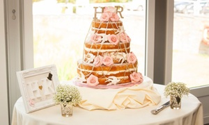 The Cake Stand: Three-Tier Naked Sponge Wedding Cake with Sugar Roses, Birds and Strings of Pearls from The Cake Stand