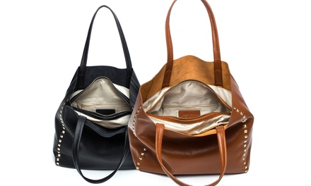 Monogrammed Studded Cognac or Black Tote from Luce Mia (Up to 80% Off)