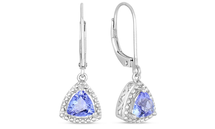 earring trinity back tanzanite earrings product trillion drop leverbacks richland lever