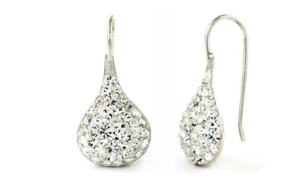Sterling Silver and Swarovski Elements Teardrop Earrings