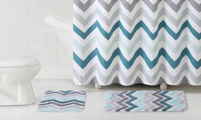 3 Pc Shower Curtain And Rug Set