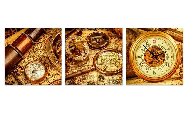 Horloge murale grande toile groupon for Horloge murale grande dimension