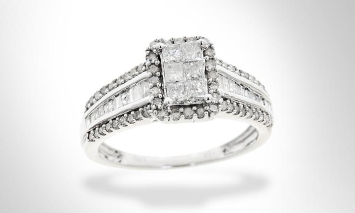 1 Carat Diamond Engagement Ring in 10K White Gold: 1 Carat Diamond TDW Engagement Ring in 10K White Gold. Free Shipping.