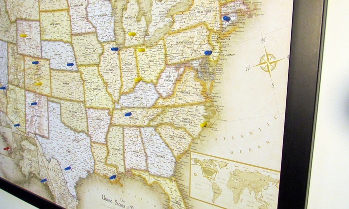 USA Or World MagneticPin Travel Map With Bonus Pins Groupon - Magnetic us wall map