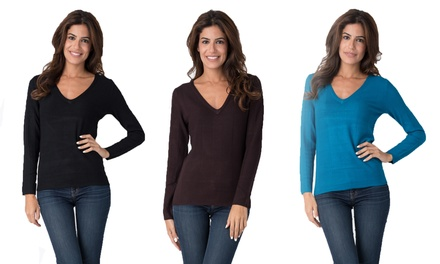 Women's Basic Long Sleeve V-Neck Sweater