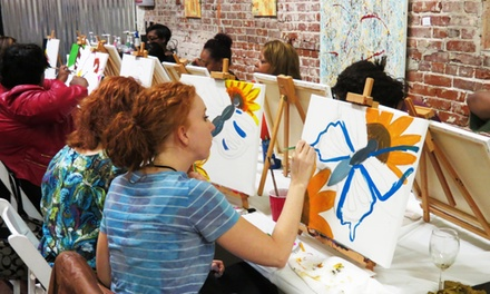 BYOB Painting Night for 1, 2, 4, or 15 at QBHome Paint & Sip Studio (Up to 63% Off)