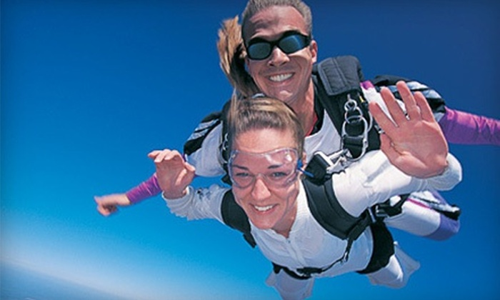 Skydive Door County - Nasewaupee: Tandem-Skydiving Package with Photos, T-shirt, Wine, and Extras for One or Two from Skydive Door County (Up to 42% Off)