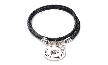 Menpura You Are My Sunshine Hand-Stamped Wrap Bracelet