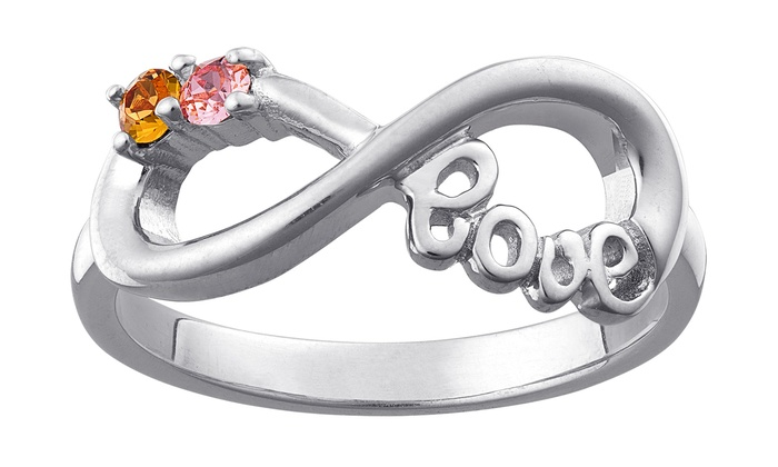 Limogès Jewelry: $29.99 for a Personalized Birthstone Sterling-Silver Infiniti Love Ring from Limogés Jewelry ($79.99 Value)