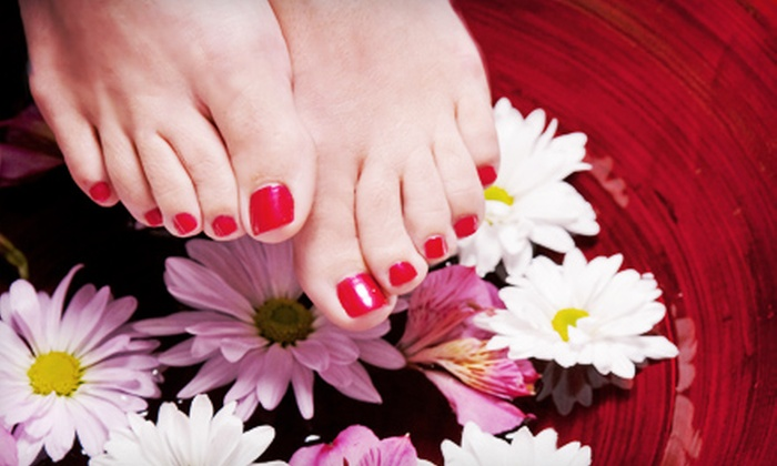 Paradise Nails - Mooney: Deluxe Spa Pedicure or Full Set of Rockstar Acrylic Nails at Paradise Nails (Up to 51% Off)
