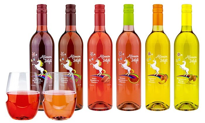 Afternoon Delight: 6 or 12 Bottles of Fruit-Infused Moscato with govino Wine Glasses from Afternoon Delight (59% Off)