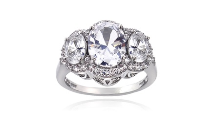 4.15 CTTW White Sapphire 3-Stone Ring