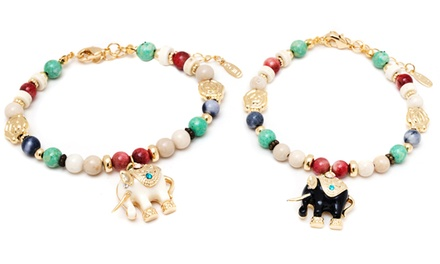 Elephant Charm Bracelet with Swarovski Elements in 18K Gold-Plated Brass