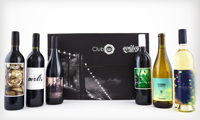 Club W: $45 for Six Bottles of Curated Classic American Wines, Featuring Two Whites and Four Reds Club W ($96 Value)